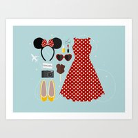 minnie mouse Art Prints featuring Minnie Mouse Flatlay by laurenschroer