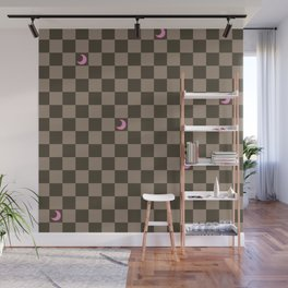 Brown Check with Light Pink Crescent Moons Wall Mural