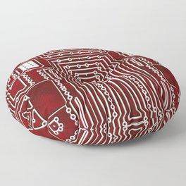 Red Geek Motherboard Circuit Pattern Floor Pillow