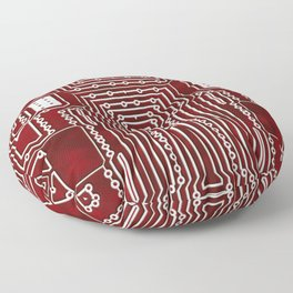 Red Geek Motherboard Circuit Pattern Floor Pillow