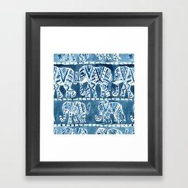 ELEPHANT SAFARI Tribal Indigo Ikat Pattern Framed Art Print
