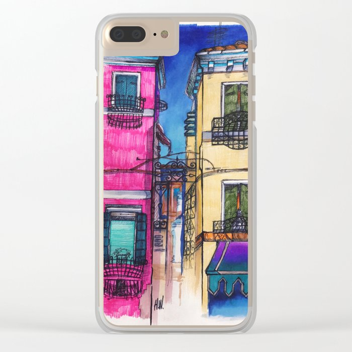 """Burano"" Drawing Clear iPhone Case"