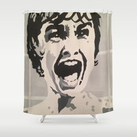 scream Shower Curtains featuring scream by Kayleigh Kirkpatrick