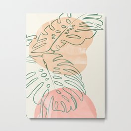 floral minmal abstract shapes II Metal Print