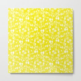 Yellow Floral Pattern Metal Print