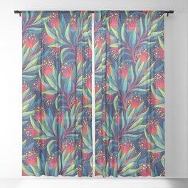 Pohutukawa - Red / Green Sheer Curtain