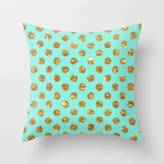 Chic Gold Glitter Polka Dots Pattern On Turquoise Throw Pillow