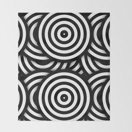 Retro Black White Circles Op Art Throw Blanket