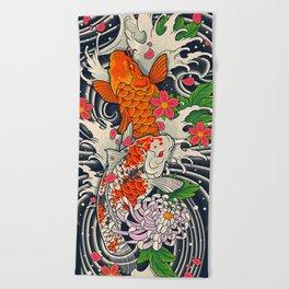 Art of Koi Fish Leggings Beach Towel