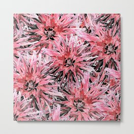 Pink with black and white dahlias Metal Print