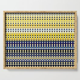 yellow beige blue indigo turquoise geometric striped pattern Serving Tray