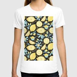 Lemon Pattern Black T-shirt