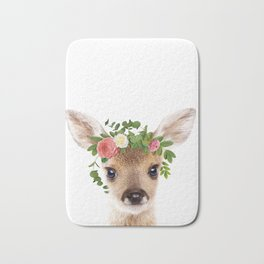 Baby Deer With Flower Crown, Baby Animals Art Print By Synplus Bath Mat