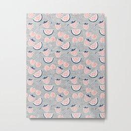 Fruit Pattern on Gray Melange Metal Print