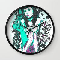 day of the dead Wall Clocks featuring Day of the dead by Tshirt-Factory