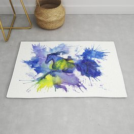 Watercolor and Ink Horse Rug