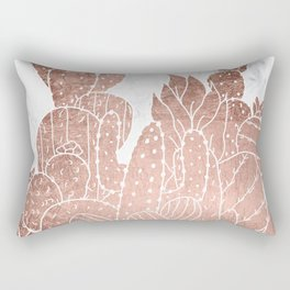 Modern faux rose gold cactus hand drawn pattern illustration white marble Rectangular Pillow