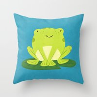 frog Throw Pillows featuring Frog by Claire Lordon