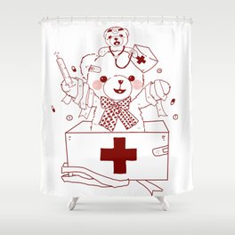 The Adventures of Bear and Baby Bear-Who's hurt? Shower Curtain