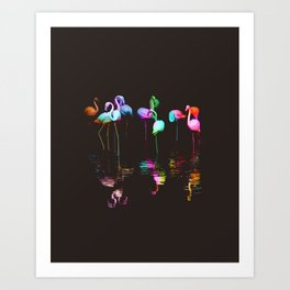 Rainbow Flamingos Art Print