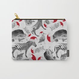 Animal Santas in Grey Carry-All Pouch