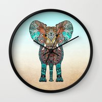 gradient Wall Clocks featuring ElePHANT by Monika Strigel®