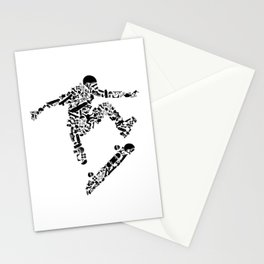Skateboarding Jump Kickflip Silhouette Art Stationery Cards