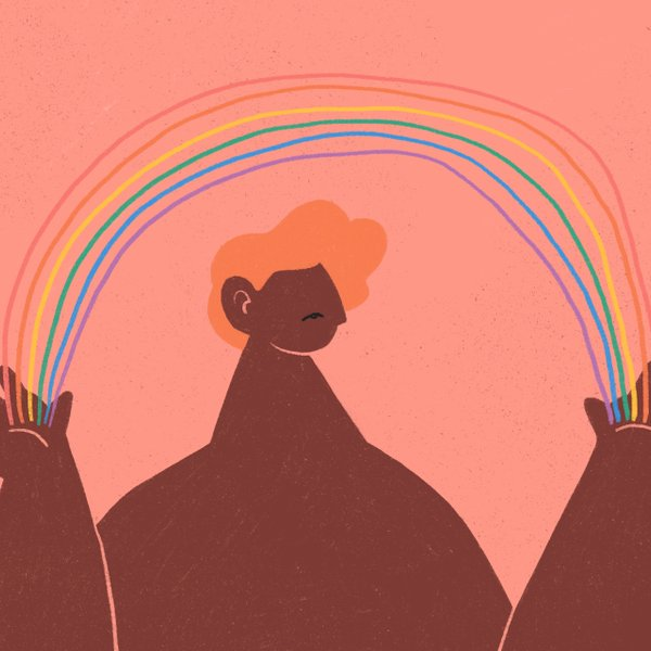 illustration of person holding a rainbow