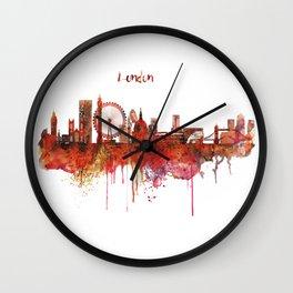 London Skyline watercolor Wall Clock
