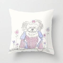 Fluffy White Dog Morkie in Pink and Blue Throw Pillow