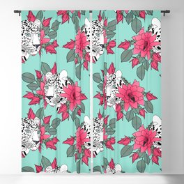 Stylish leopard and cactus flower pattern Blackout Curtain