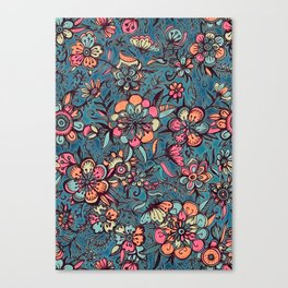 Sweet Spring Floral - melon pink, butterscotch & teal Canvas Print