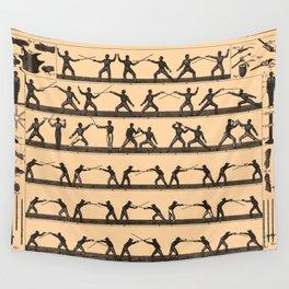Vintage Fencing Swordsmanship Diagram (1907) Wall Tapestry