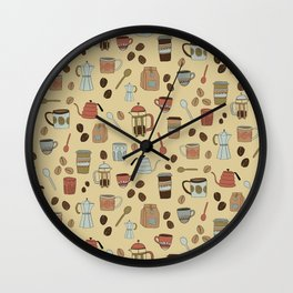 Coffee Love Patten / Cute Coffee Design / Caffeine Addict / Coffee Art / French Press / Coffee Shop Wall Clock