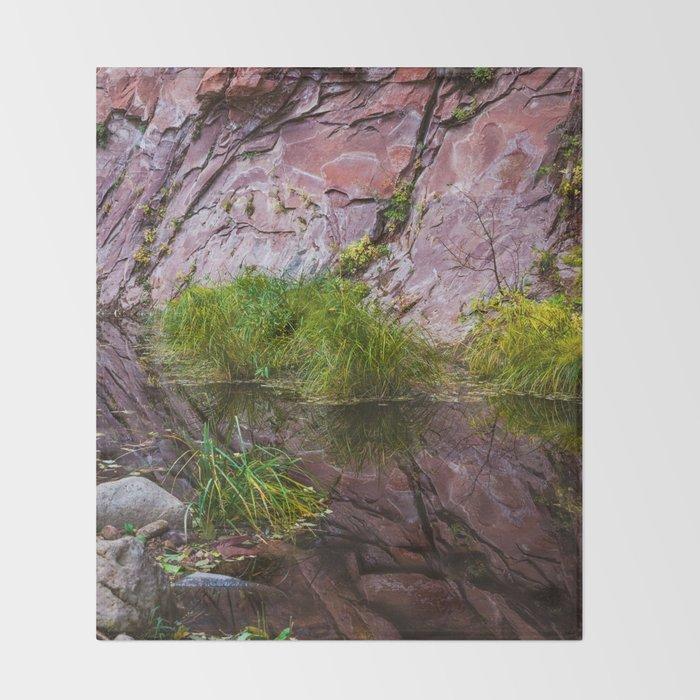 Moss on Red Rocks Sedona Arizona Throw Blanket