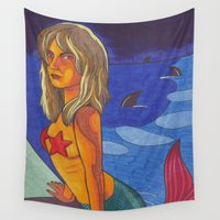 sharks Wall Tapestries featuring Sharks by Anna Gogoleva
