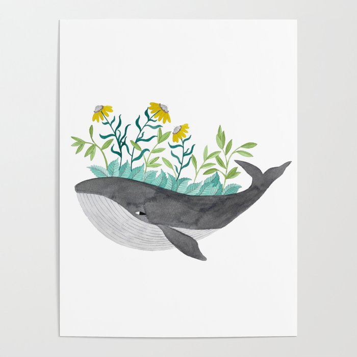 whale with mustard flowers watercolor Poster