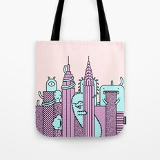 Monster Invasion Colored Tote Bag