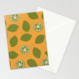 Lime Design - Fruit, Yellow and Green, Lime Pattern Stationery Cards