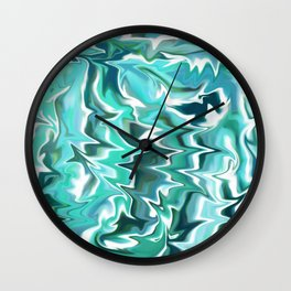 Liquid Marble // Aqua, Turquoise Blue, Mint Green, Teal, White Wall Clock