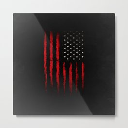 American flag Red and Black grunge Metal Print