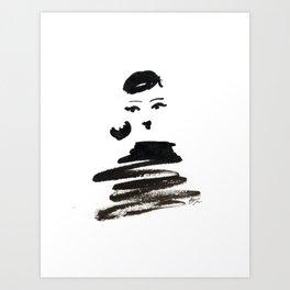 Stylish Girl Ink Croquis 3 Art Print