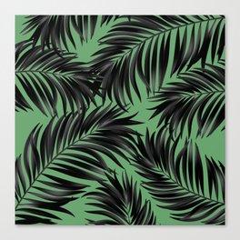 Palm Tree Fronds Black on Rainforest Green Hawaii Tropical Decor Canvas Print