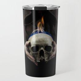 Skull on fire Travel Mug