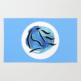 Spirit Horse {Blue Watercolor} Rug