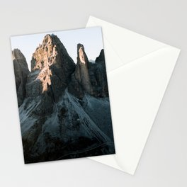 Tre Cime in the Dolomites Mountains at dusk - Landscape Photography Stationery Cards