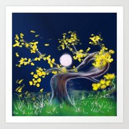 Tree Moon Art Print