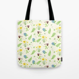 Spring Flowers and Ferns Illustrated Pattern Print Tote Bag