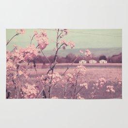 Sweet Spring (Teal Sky, Soft Pink Wildflowers, Rural Cottage) Rug