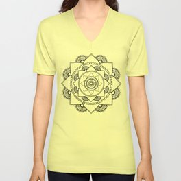 Mandala 01 - Black on White Unisex V-Neck